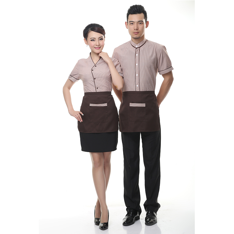 2017 short sleeves hotel uniform men waiters uniforms for