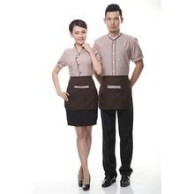 2017 Short sleeves hotel uniform men waiters uniforms for restaurant Summer cleaning overalls restaurant waitress uniforms