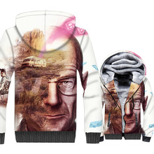 men thick rib sleeve wool liner coats funny 3D printing hooded 2019 winter breaking Bad jackets tracksuits man casual sweatshirt