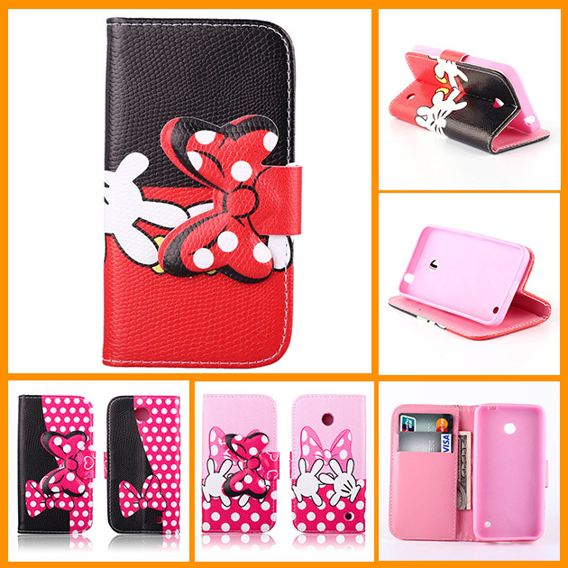 2014 New Wallet Flip PU Leather Phone Cover Case For Nokia