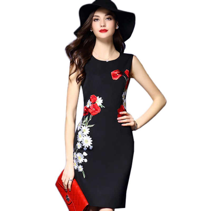 2017 High Quality Women Embroidery Dress Vintage Dress O ...