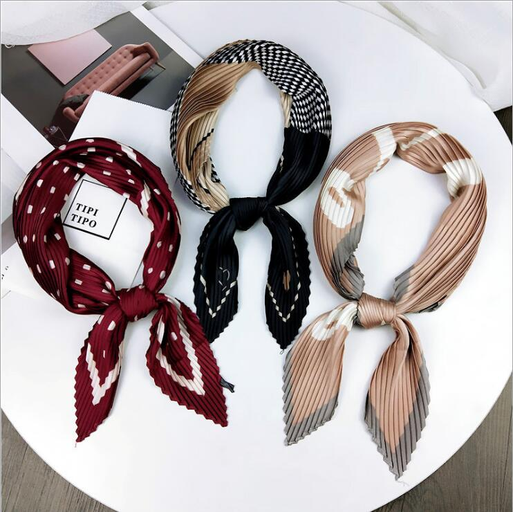 Pleated Small Square Scarf Wrinkled Silk Headscarf Print Foulard Female Square Wrinkle Scarf Small Wrinkled Decorative Headscarf(China)