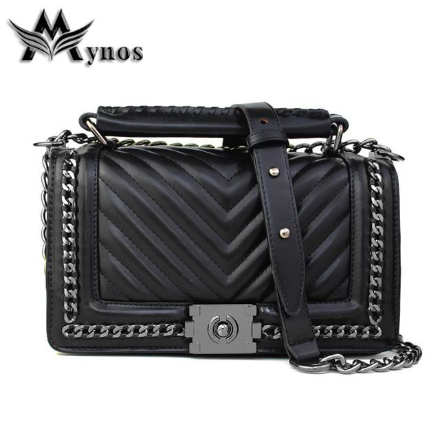 Mynos Fashion Famous Designer Brand Women Leather Handbag Shoulder Crossbody Bag For Women Messenger Bag Ladies Tote Sac A Main