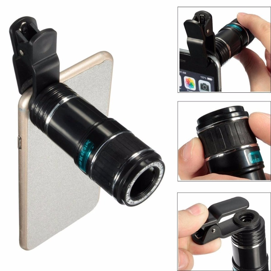 Mobile Phone Lens 12X Zoom Telephoto Lentes Camera Lens Telescope With Clip For iphone 4 5