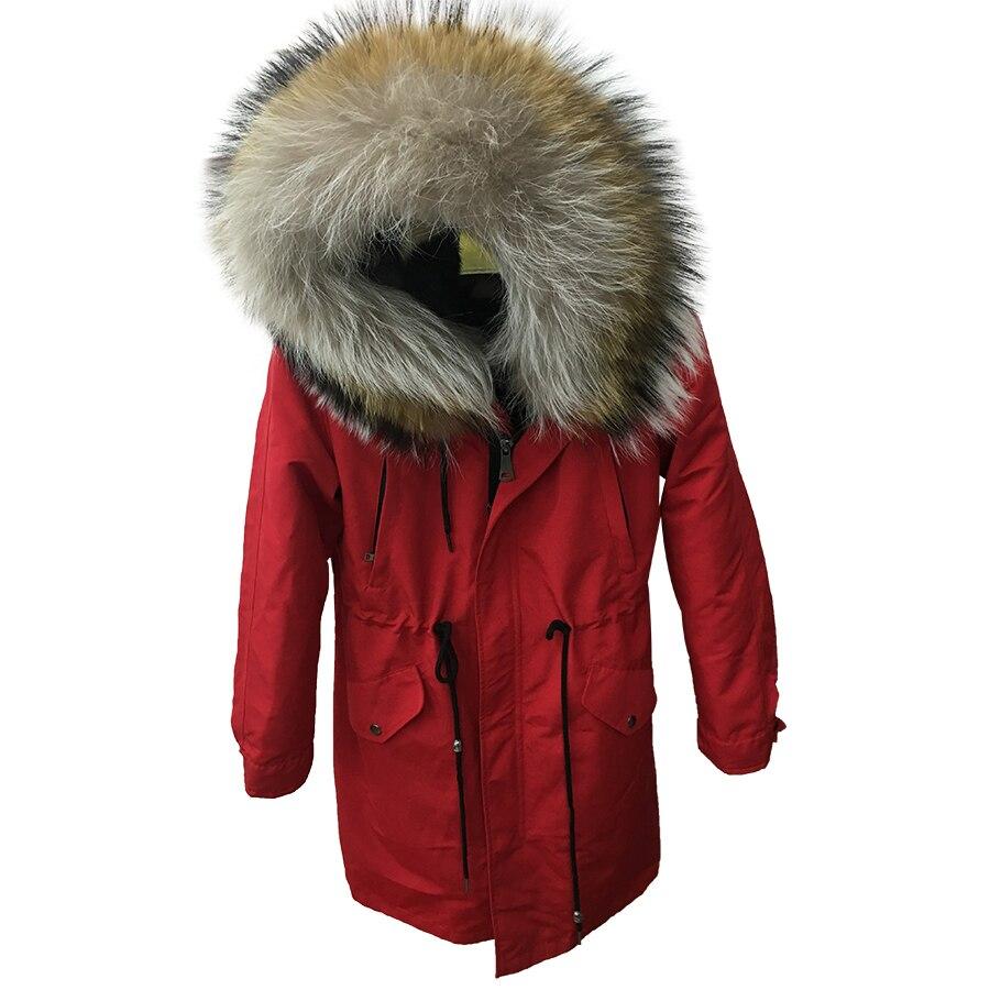 2018 rivestimento di inverno di modo delle donne reale cappotto di pelliccia naturale reale raccon collo di pelliccia del cane di collare allentato parka grande collo di pelliccia della tuta sportiva Staccabile