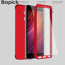 Bapick Luxury Full Cover Protective Phone Case for Xiaomi Redmi Note 4 4X Protector with Glass