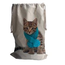 ФОТО Cute Cat Pattern Storage Cotton Linen Bag Travel Beam Port Backpack Shoulder Large Capacity Rope Pouches