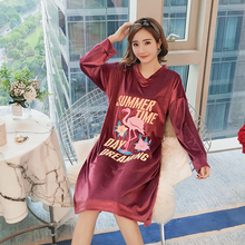 Fashion Women Winter Night Skirt Leisure Home Gold Velvet Long Sleeve Thicken Warm Flannel NIghtgown for