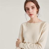 cashmere wool blend knit women fashion slash neck pullover sweater beige white 4color S/M/L