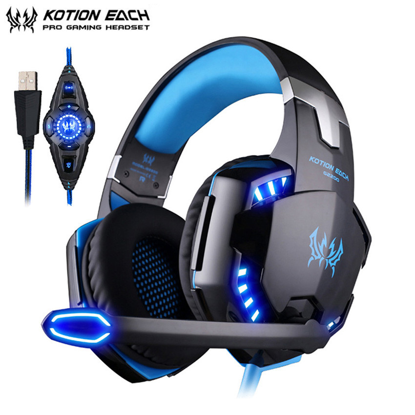 KOTION EACH G2200 PC Gamer Gaming Headset casque Vibration USB 7.1 Surround Sound Stereo Headset with Microphone LED Lights kotion each g8200 game headphone 7 1 surround usb vibration gaming headset headband casque earphone microphone led light for pc