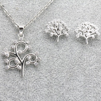 Jewelry Set 925 Sterling Silver Tree Pendant Necklace Earrings Set Trendy Jewelry for Women Wedding Valentine's Day Gift