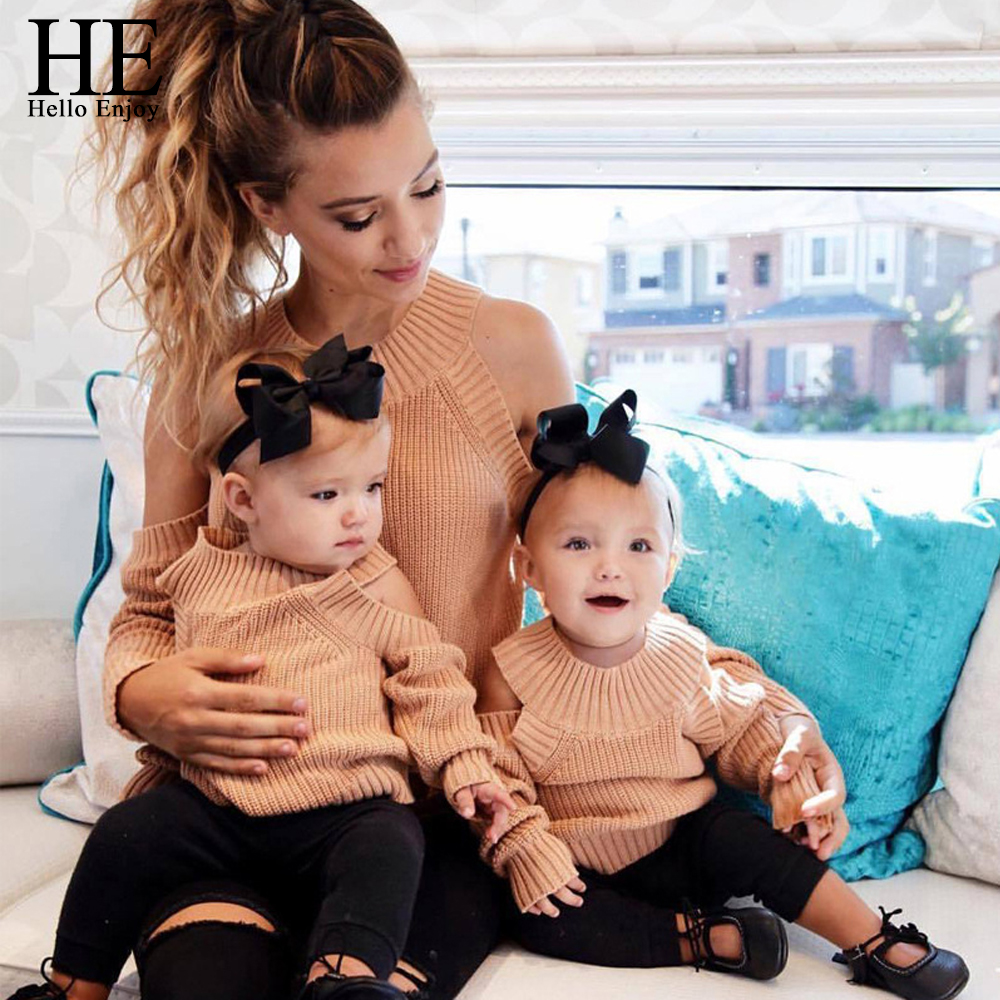 HE Hello Enjoy Mother And Daughter Clothes Autunm Winter 2018 Off Shoulder Long Sleeve Knitwear Sweater Pullover Family Outfits trendy see through off the shoulder long sleeve lace blouse for women