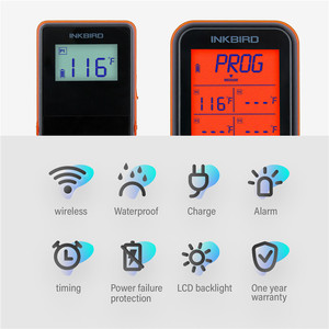Image 4 - Inkbird IRF 4S Four Probes Remote Wireless Waterproof Grill Thermometer , 1000 Feet Signal, USB Charging Cable Orange