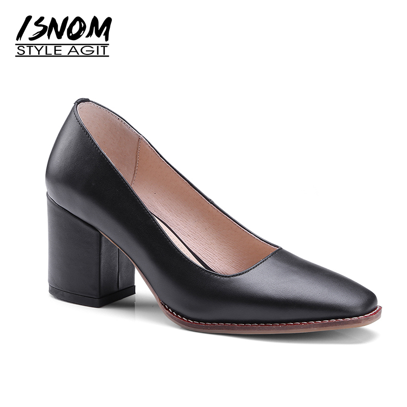 ISNOM 2018 Heel Women Shoes Genuine Leather Pumps Classic Black Office Female Footwear Thick High Heels Lady Shoes Square toe zorssar 2018 new fashion buckle genuine leather thick heel womens shoes heels square toe high heels pumps ladies office shoes