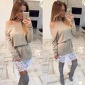 Fall 2016 Women Explosion Models Sexy Word Shoulder Lace Stitching Bat Sleeve Solid Color Dress Casual And Comfortable Dress