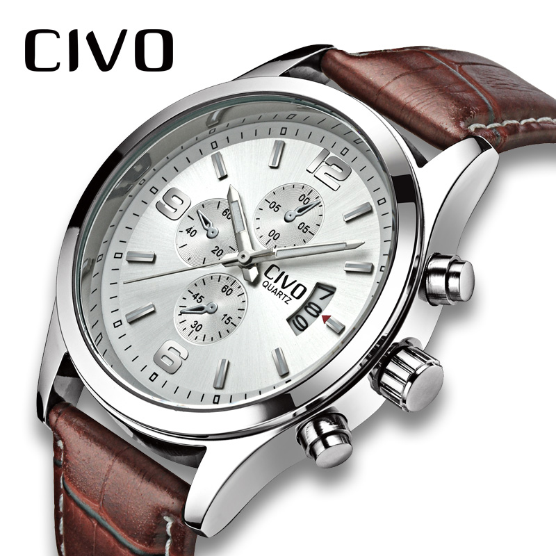 CIVO Genuine Leather Men's Watch Waterproof Quartz Wrist Watches Mens Calendar Analogue Business Watch For Men Relogio Masculino fashion casual watch men civo waterproof date calendar analogue quartz men wrist watch brown genuine leather watch for men clock