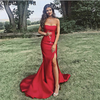 Cinderella Strapless Sleeveless Side Split Court Train Satin Pleated Women Prom Dresses Party Gowns For Prom
