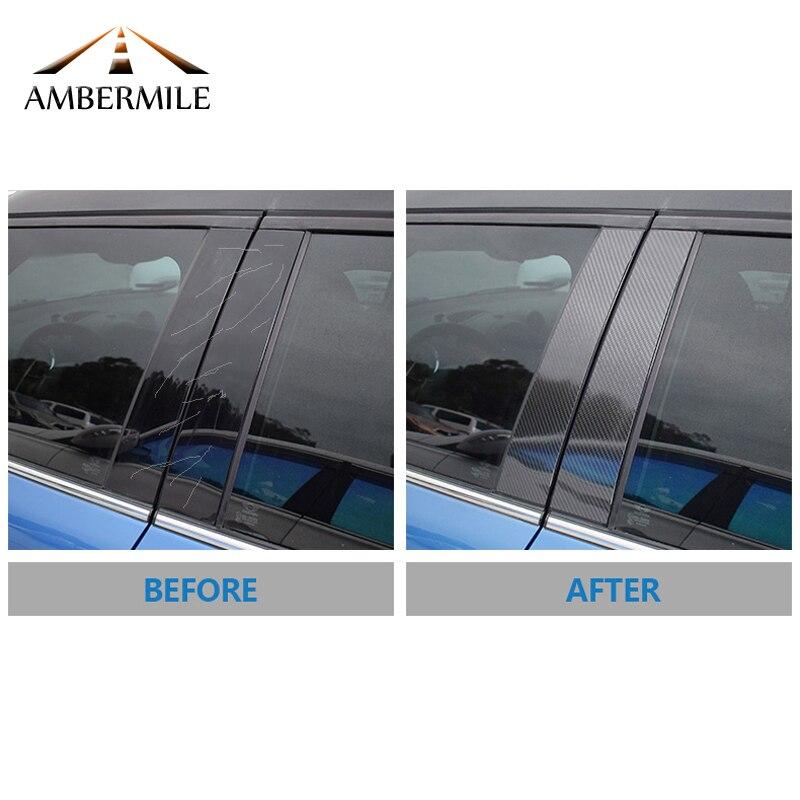 AMBERMILE pour Mini Cooper F55 Compatriote F60 Clubman F54 Accessoires Carbone fibre B Pilier Couverture Garniture Fenêtre Protection Autocollants - 6