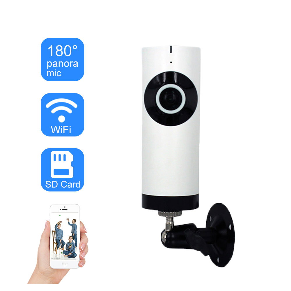 WIFI IP Camera Home Security 720P Fisheye Lens 180 Degree Panoramic Wireless CCTV Camera Cloud Storage Two Way Audio SD Card|Surveillance Cameras| |  - title=