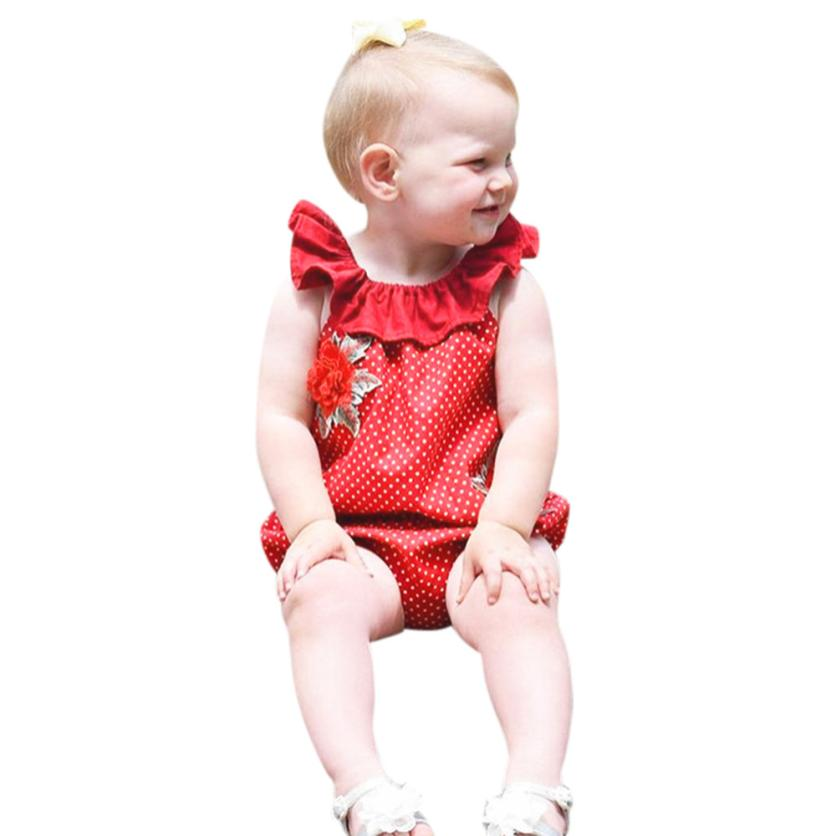 2018 baby romper summer Ruffles Sleeve Romper Floral Dot Playsuit Clothes Outfits MAR26