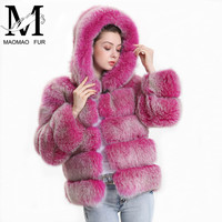 Real Fox Fur Coat Women Winter 2018 Fashion Natural Fox Fur Jacket with Hood Outfit Hoodies Genuine Real Fur Hooded Coat Female
