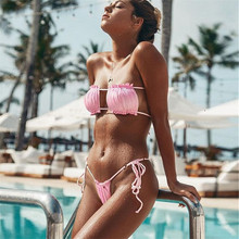 bikini 2019 Sexy Solid color Lace String Fold square simple Thong Beach Sun bath swimwear women swimsuit women biquini bikinis
