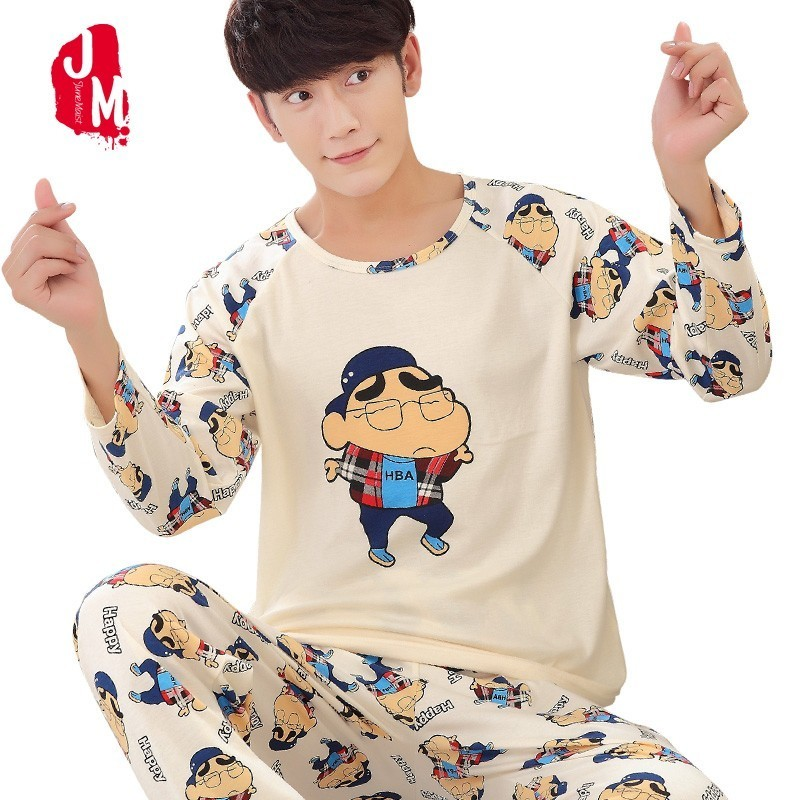 Man Pyjamas Lounge Plaid-Sleepwear-Sets Long-Sleeve Winter Cotton Casual Plus-Size Autumn