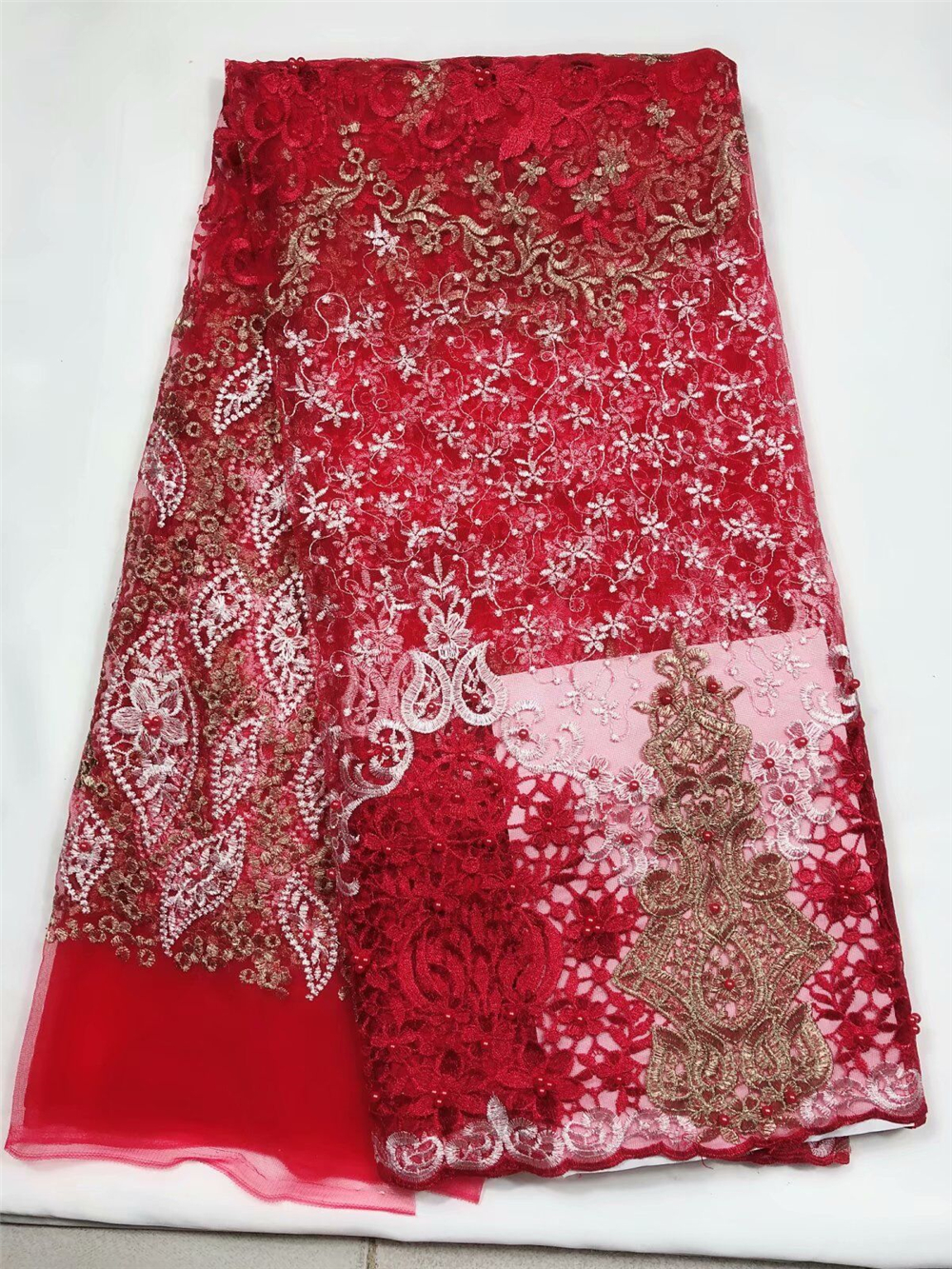 Good quality Nigerian lace fabric 5 yards beaded hot sale tulle net lace fabric red french laceGood quality Nigerian lace fabric 5 yards beaded hot sale tulle net lace fabric red french lace