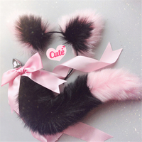 Cute Soft Cat ears Headbands with Fox Tail Bow Metal Butt Anal Plug Erotic Cosplay Accessories Adult Sex Toys for Couples