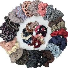 Модные Винтажные эластичные резинки для волос шотландская клетка большого размера для женщин и девушек резинка для хвоста ювелирные аксессуары для волос