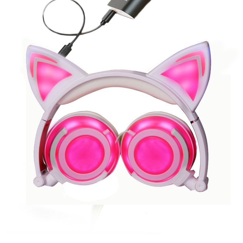 New Style Foldable Wireless Cat Earphone  Glowing Cute Headset with LED Light Rechargeable Music Headphone  for Children Gift 2017 new color style cheap cartoon headset gift anime headphone earphone