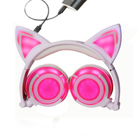 New Style Foldable Wireless Cat Earphone Glowing Cute Headset With LED Light Rechargeable Music Headphone For