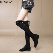 CDAXILAN new arrivals over the Knee Boots Women  Faux Suede Thigh High 3cm mid-heel Stretch Slim Sexy Ladies Winter