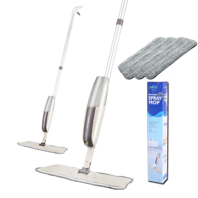 Floor Spray Mop Kit With Reusable Flat Microfiber Pads Professional Handle Mop For Laminate Wood Ceramic Tile  Window Cleaning