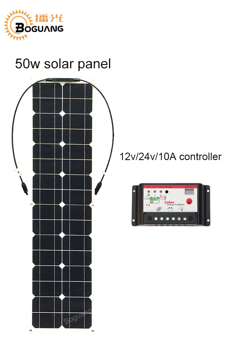 Boguang 50w solar panel 12v/24v/10A controller MC4 connector module Monocrystalline silicon cell 12v battery DIY kit boguang 200w solar system 100w flexible solar panel high efficiency monocrystalline silicon cell module 20a controller cable