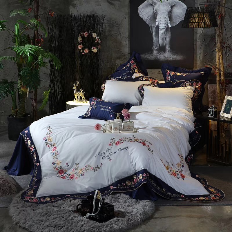 4/7pcs Blue White High-end Luxury Pastoral Flowers Embroidery 100S Egyptian Cotton Bedding Set Duvet Cover Bed Sheet Pillowcases