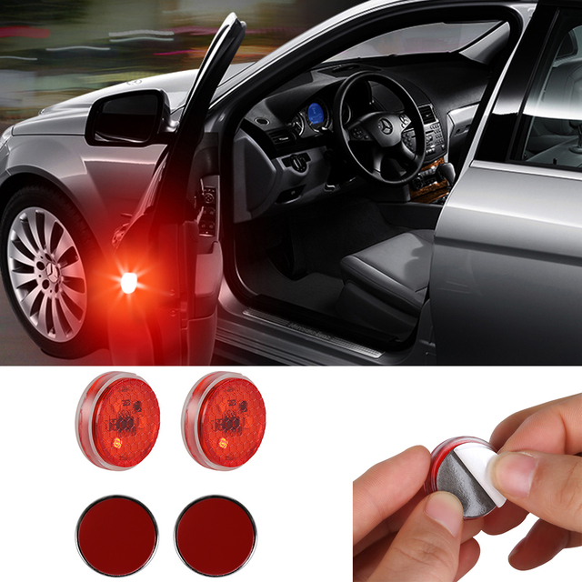 2X Car LED Opening Door Safety Warning Anti-collision Lights Flash Light Red Kit Wireless Alarm Lamp Anti-collid signal light