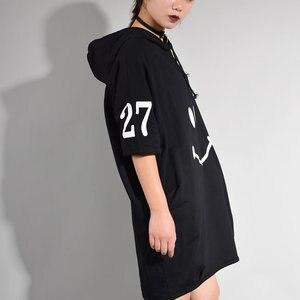 Image 4 - [XITAO] קוריאה 2017 קיץ אופנה נשי אופי הדפסת Loose שמלת נשים קצר שרוול ברדס צווארון מעל הברך שמלה CXB533