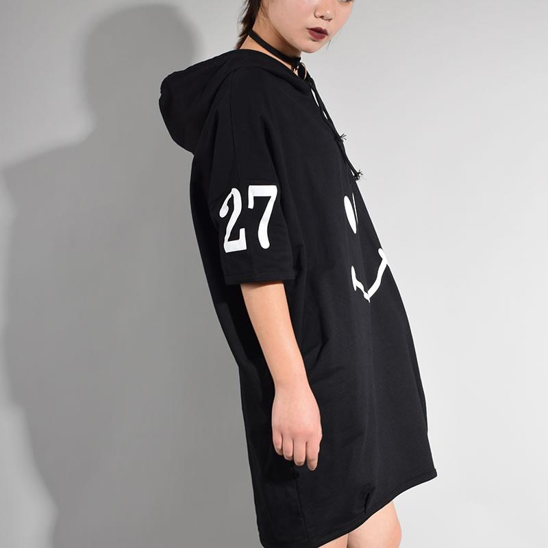 Image 4 - Женское платье с коротким рукавом XITAO, длинное платье до колена с капюшоном и принтом персонажей из Кореи, лето 2017loose dressknee dressdress fashion women -
