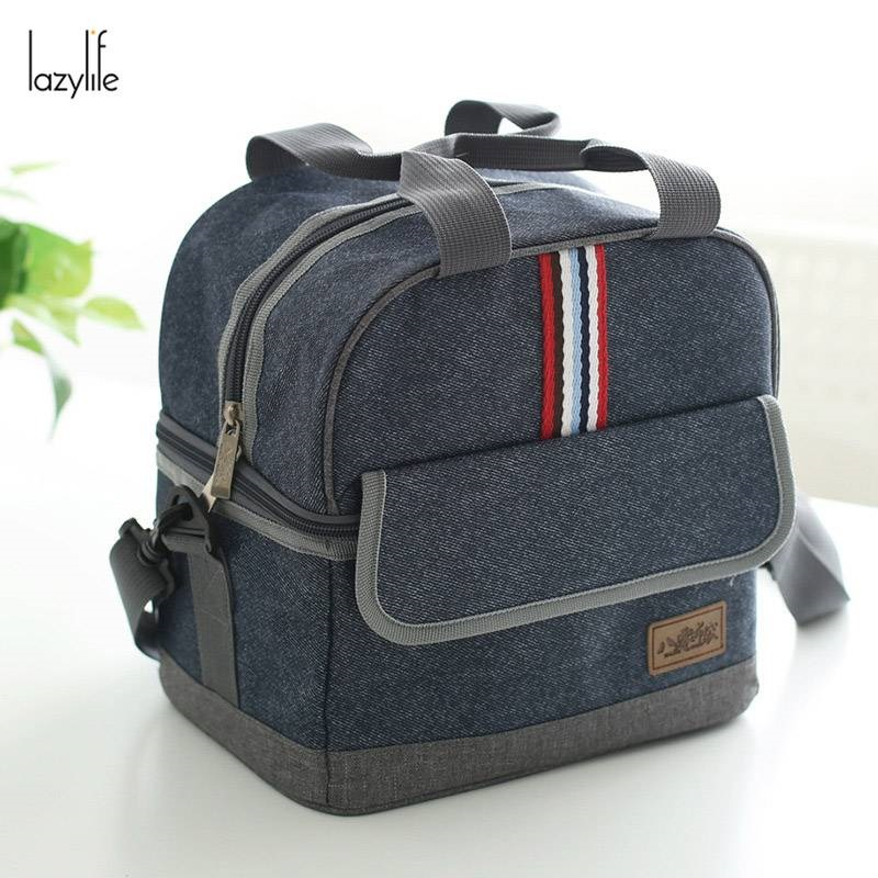 LAZYLIFE Double Layer Lunch Bags for Women Kids Men Cooler Cooler Insulated Lunch Bag Thermal Food Picnic Bags