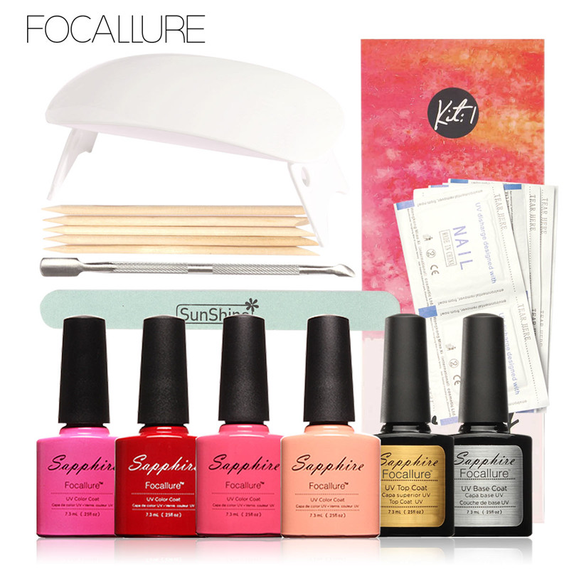FOCALLURE 4 Colors Soak-off Gel Polish Top Coat Base Coat UV Manicure Nail Gel Remover Nail DIY Art  with 6W Sun Nail Led Lamp 2018 new professional electric nail gel polish remover steam off uv gel polish removal machine nail steamer for home nail salon