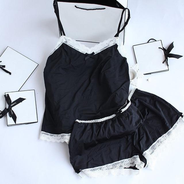 Для женщин s пижамы Кружево Для женщин пижамный комплект Костюмы для Для женщин домашняя одежда indoor Костюмы леди милые пижамы для Для женщин; пижамы