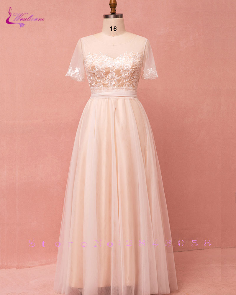 Waulizane Chic Tulle Scoop A-Line   Bridesmaid     Dresses   Floor-Length Short Sleeves With Bow Long Formal   Dress   For Special Occasion