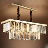 ZX современные прямоугольные Кристалл Золотой кулон лампа LED E14 Кристалл Обеденная металлическая люстра творческий лампа для Гостиная бар