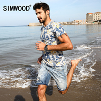 SIMWOOD Summer T Shirts Men 2017 Hawaiian Print Short Sleeve 100 Pure Cotton Slim Fit Skinny