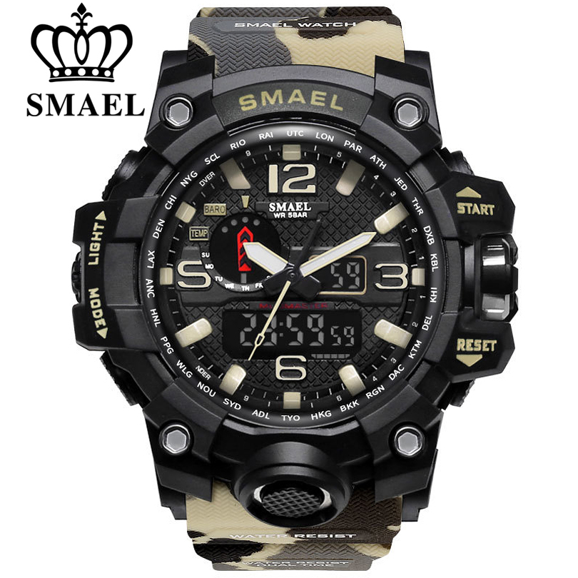 SMAEL de marca de lujo relojes deportivos militares para camuflaje PU correas Dual pantalla LED reloj de los hombres de moda Casual buceo 50 m xfcs