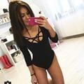 HQ Europa Personalizada Mujeres Sexy Profundo Cuello En V Criss Cross Frente Encaje Medias Body Jumpsuit Pecho Vendaje Mamelucos NXH559