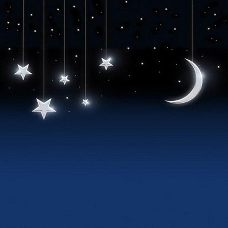Custom night moon stars sky vinyl cloth photography backgrounds for ...