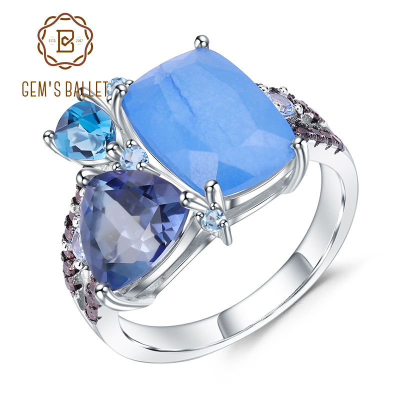 GEM'S BALLET Natural Aqua Blue Calcedony Rings 925 Sterling Silver Gemstone Vintage Ring For Women Bijoux Fine Jewelry