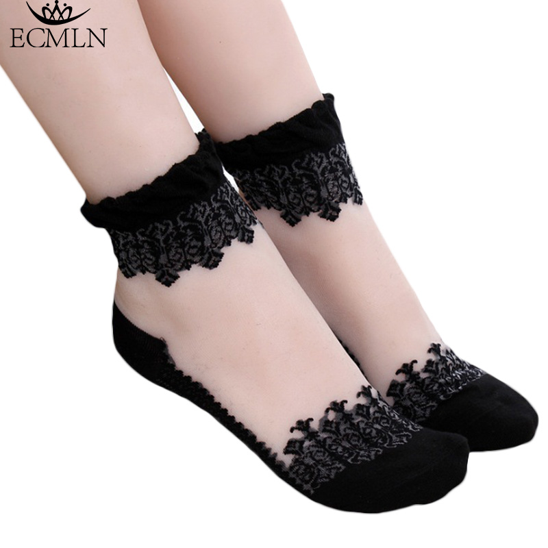 Hot sales Colorful Ultrathin Transparent Beautiful Crystal Lace Elastic Short Women   Socks   Pink   Sock   for Women